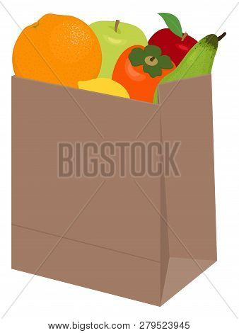 Paper Bag Of Different Health Food On White Background. Grocery In A Paper Bag And Fruits In Paper B
