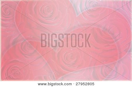 background with roses and two hearts