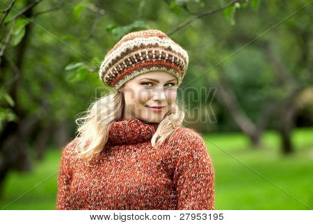 beautiful woman in wood