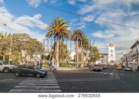 Latacunga, Ecuador - July 6, 2015 Latacunga City Main Square