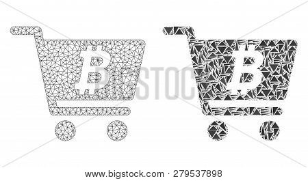 Mesh Vector Bitcoin Webshop With Flat Mosaic Icon Isolated On A White Background. Abstract Lines, Tr
