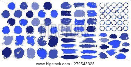 Blue Paint Stains Brush Stroke Backgrounds Set. Dirty Artistic Vector Design Elements, Boxes, Frames