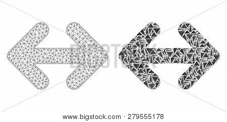 Mesh Vector Exchange Arrows Horizontally With Flat Mosaic Icon Isolated On A White Background. Abstr