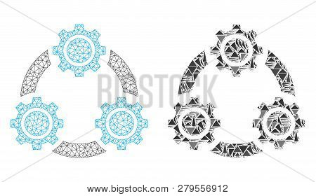 Mesh Vector Gear Planetary Transmission With Flat Mosaic Icon Isolated On A White Background. Abstra