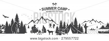 Summer Camp Seamless Pattern. Vector Illustration. Outdoor Adventure Background For Wallpaper Or Wra