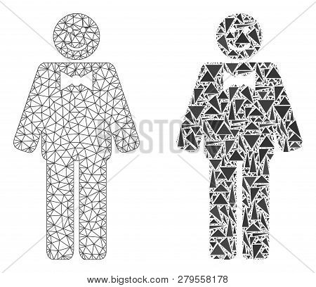 Mesh Vector Happy Mister With Flat Mosaic Icon Isolated On A White Background. Abstract Lines, Trian