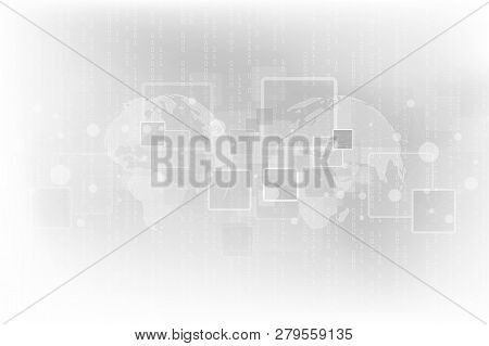 Abstract Geometric Background With World Map. Modern Technology Connection Science. Technology Cyber