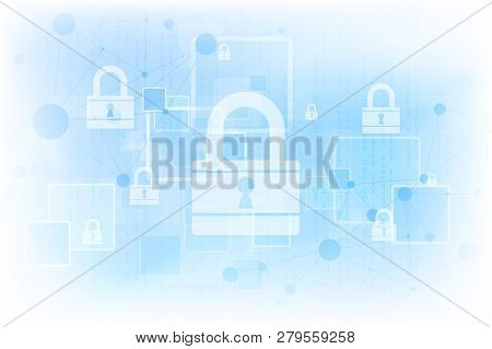 Abstract Technology Background Protect System Innovation. Security Cyber Digital Concept. Vector Ill