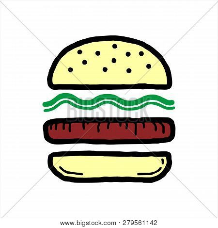 Burger Icon Isolated On White Background. Burger Icon Simple Sign. Burger Icon Trendy And Modern Sym