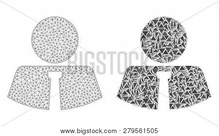 Mesh Vector Mister With Flat Mosaic Icon Isolated On A White Background. Abstract Lines, Triangles,