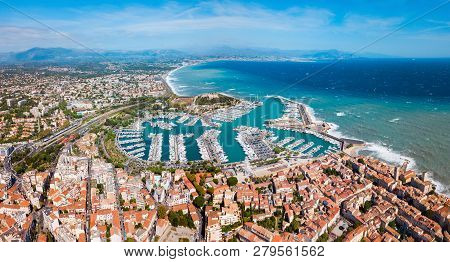 Antibes Port Aerial Panoramic View. Antibes Is A City Located On The French Riviera Or Cote Dazur In