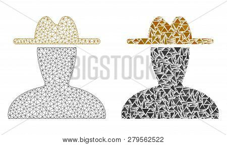 Mesh Vector Peasant Persona With Flat Mosaic Icon Isolated On A White Background. Abstract Lines, Tr