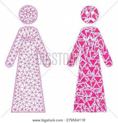 Mesh Vector Sad Woman With Flat Mosaic Icon Isolated On A White Background. Abstract Lines, Triangle