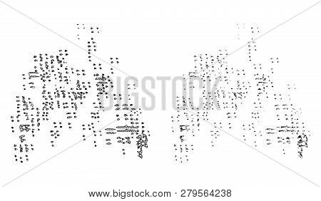 Mesh Vector Sand Swarm With Flat Mosaic Icon Isolated On A White Background. Abstract Lines, Triangl