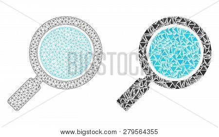 Mesh Vector Search Loupe With Flat Mosaic Icon Isolated On A White Background. Abstract Lines, Trian