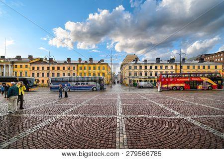Helsinki, Finland - September 10 2018: Tour Busses Line Up At The Senate Square In Helsinki Finland