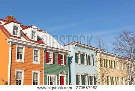 Historic Residential Houses In Georgetown Neighborhood During Winter, Washington Dc, Usa. Colorful H