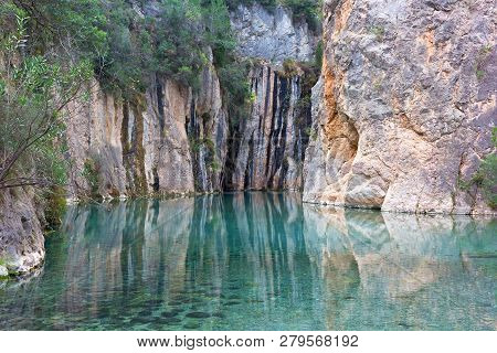 Natural Hot Springs In A Beautiful Mountainous Canyon In Valencia Region Of Spain. Landscape Of Clea
