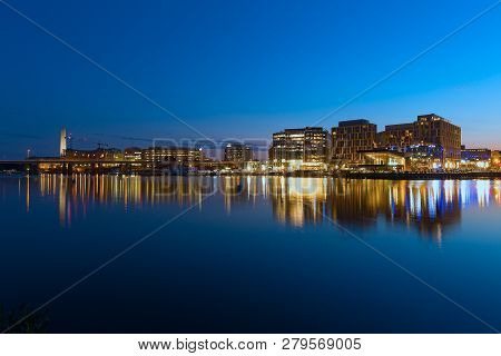 Washington Dc, Usa - July 28, 2018: The Wharf In Washington Dc At Night. The Wharf Is Located Along