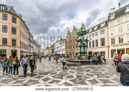 Copenhagen, Denmark - September 10 2018: Tourists Wander The Stroget Shopping District Near The Stor