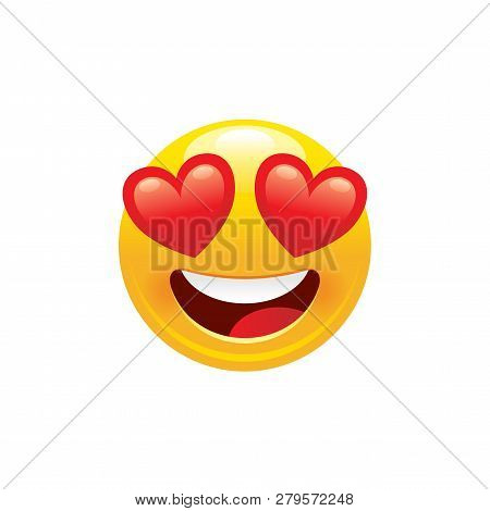 Heart Emoji Icon. 3d Face Smile For Love Chat, Message Design Happy Mood Eyes Symbol, Beauty Kiss Em