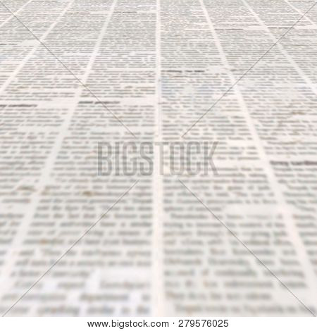 Newspaper Texture With Old Unreadable Text. Vintage Blurred Paper News Square Background. Textured P