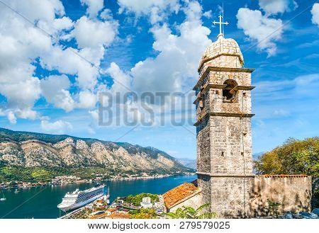 Kotor, Montenegro - September 16 2018: The Tower Of Saint John Church, Under The Ruins Of The Castle