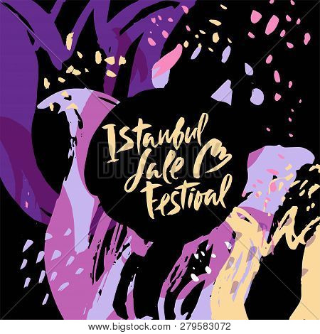 Illustration Istanbul Lale Festival, Flowers Festival On Hand Drawn Floral Decorative Background. Ca
