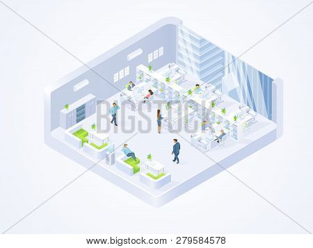 Modern Company, Coworking Center Office Isometric Vector Cross Section Interior With Business People
