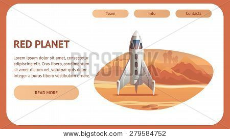 Banner Illustration Spaceship Surface Red Planet. Vector Shuttle Long Flight For Delivery Astronaut