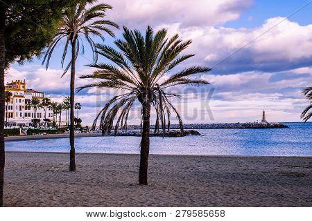 Sunset. Sunset In Puerto Banus. Puerto Banus, Marbella, Costa Del Sol, Andalusia, Spain. Picture Tak