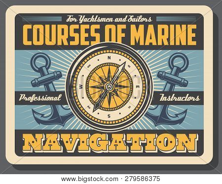 Marine Courses, Boatmasters School, Yachtsmen And Sailors, Navigation. Vector Compass, Rose Of Wind
