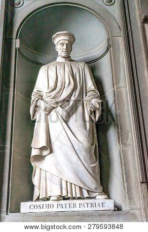 Florence, Italy - September 14, 2017 Cosimo Medici Father Medici Clan Statue Uffizi Gallery Florence