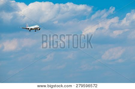 Zurich, Switzerland - July 19, 2018: Airfrance airlines airplane preparing for landing at day time in international airport
