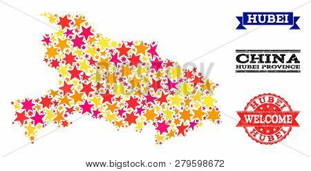 Mosaic Map Of Hubei Province Formed With Colored Flat Stars, And Grunge Textured Stamps, Isolated On