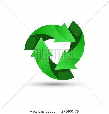 Green Recycling Logo. Recycling Icon. Recycled Eco Vector. Recycle Arrows Ecology Symbol. Recycled C