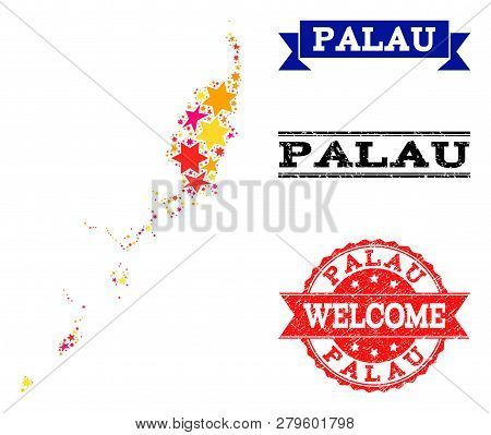 Mosaic map of Palau Islands created with colored flat stars, and grunge textured stamps, isolated on an white background. Vector colored geographic abstraction of map of Palau Islands with red, poster