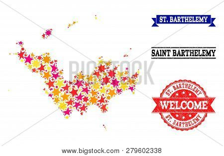 Mosaic Map Of Saint Barthelemy Formed With Colored Flat Stars, And Grunge Textured Stamps, Isolated