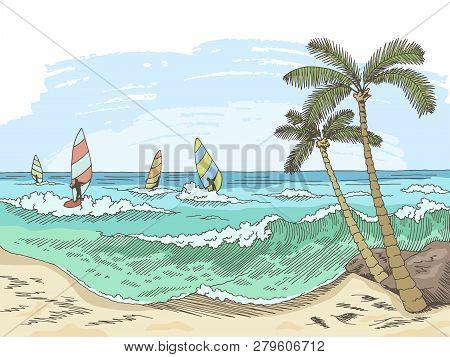 Sea Windsurfing Graphic Color Seascape Sketch Illustration Vector