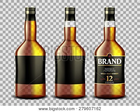 Set Of Whiskey, Rum, Bourbon Or Cognac Glass Bottle With Alcohol And Without. Transparent Bottles Dr