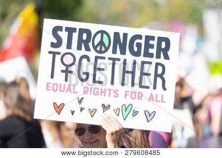 Protesters Holding A Sign During 3Rd Womens March In Los Angeles.