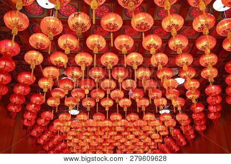 Red Chinese Lantern,chinese New Year  Lantern Hanging On The Ceiling In Many Parts Of The Chinese Ne