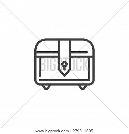 Treasure Chest Line Icon. Linear Style Sign For Mobile Concept And Web Design. Video Game Chest Outl