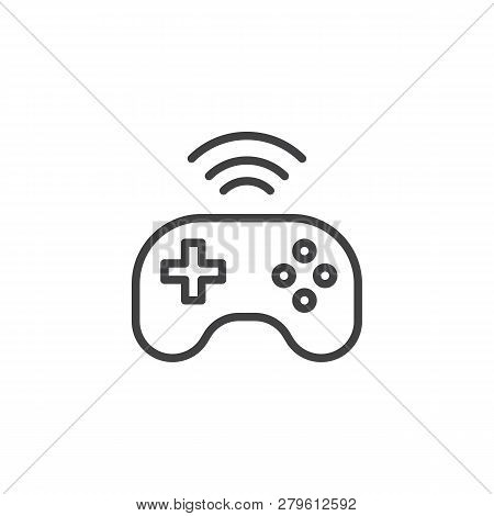 Wireless Console Gamepad Line Icon. Linear Style Sign For Mobile Concept And Web Design. Wireless Jo