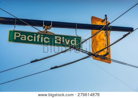 pacific blvd road sign, vancouver.