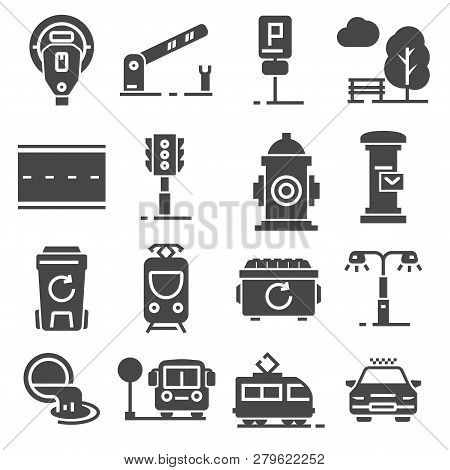 Vector Gray Line City Amenities Icons Set On White Background