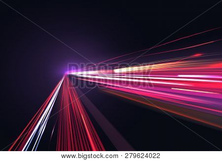 Vector Image Of Colorful Light Trails With Motion Blur Effect, Long Time Exposure Isolated On Backgr