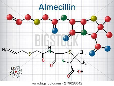 Almecillin (penicillin O) Drug Molecule. It Is Beta-lactam Antibiotic. Structural Chemical Formula A