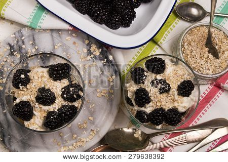 Cranachan, A Very Scottish Dessert Made With Oat Flakes, Blackberries, Whisky And Whipped Cream In A