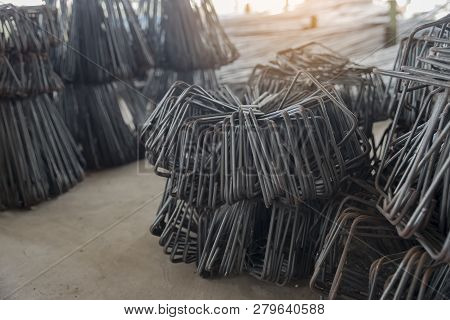 Rebar steel shape used for beams and columns (construction site) in a store building materials. poster